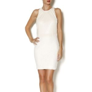 Sequin Sleeveless Mini Party Dress M Ivory